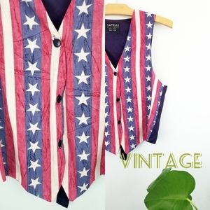🌹Vintage// 90s American Flag Forth of July Vest